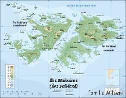 Argentine îles Malouines carte